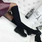 КОД 271 Ботфорды демисезонные,  материал Эко замш,  цвет: черный,  каблук 4 см.,  подошва 2 см.,  вы
