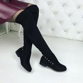 КОД 272 Ботфорты-деми камешки ,  материал Эко замш,  подкладка-флис,  цвет: черный,  каблук 2 см.,
