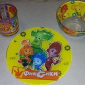 Набор детской посуды 3 предмета Фиксики,Пони,лунтик,щенячий патруль,пепа,супермен