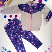Тёплый костюм для девочки  с начёсом размер 28,30,32,34 Малиновые звёзды