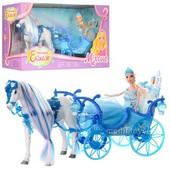 Карета 223A 33 см, свет, лошадь 25 см, (звук, ходит), Кукла 28 см,на бат-ке