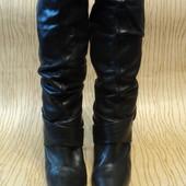 Сапоги Bronx кожаные острым зауженным носком каблуке черные натуральная кожа кожи ботфорты гармошкой