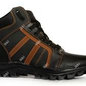 Мужские зимние ботинки черного цвета с коричневыми вставками (СБ-7чк)