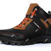 Современные мужские ботинки на зиму черного цвета (СБ-15чр)
