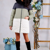Размеы 44-54 Теплая зимняя женская куртка с натуральным мехом
