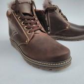 Кожаные ботинки с натур. мехом.Гарантия качества.Без сбора ростовки.Есть большие размеры.39-49