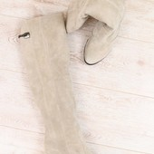 Демисезонные женские сапоги-ботфорты, замшевые, на байке, бежевые, на высоком устойчивом каблуке