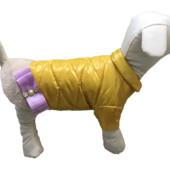 Жилетки стильные для собак желтая,лиловая,черная ( декор бант и мех)