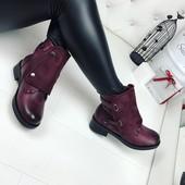 КОД 356 Ботинки зимние, материал:экокожа+экозамш , цвет бордо,внутри искусств. мех  высота 13,5 см