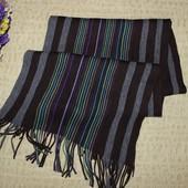 Теплый разноцветный шарф в полоску