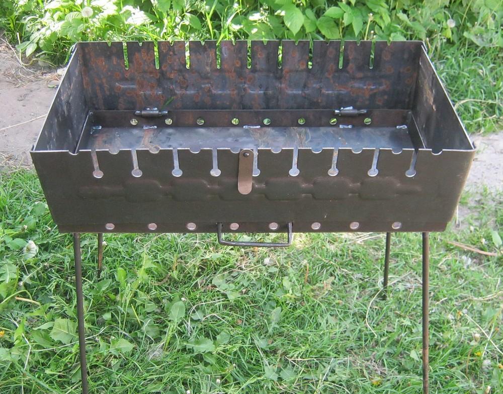 Раскладной мангал чемодан на 10 шампуров 2мм фото №1