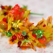 Яркий осенний обруч ободок с листьями на праздник осени