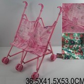 Коляска 886H (923857) (36шт/2) для 2х кукол, 2 вида, пластик, двойные колеса, складная, в пакете