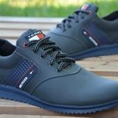 2 цвета!!! Новинка!!! мужские кожаные кроссовки  код: Tommy Hilfiger 32 ч.