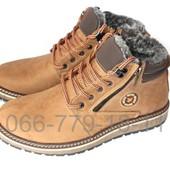 Мужские зимние кожаные ботинки цвета олива