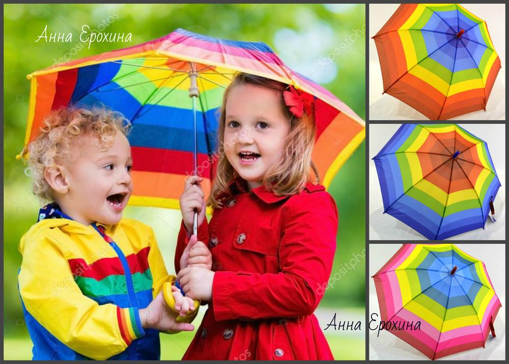 Радужный детский зонт трость радуга отличного качества на 5-9 лет фото №1
