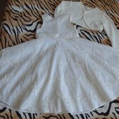 Очень красивое нарядное платье для девочки на 6 - 7 лет. Плюс болеро
