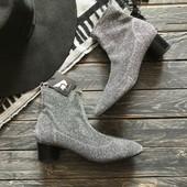 Новые серебристые ботинки чулки Zara р-р 38