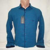 Мужская клетчатая тёплая рубашка на кнопках Paul Semih, Турция. Разные цвета.