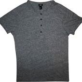 Мужская футболка серая с металлическими пуговицами H&M M
