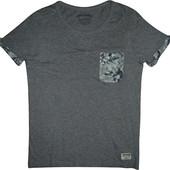 Мужская футболка серая с карманом с широким горлом Jack&Jones M S