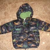 Фирменная Next теплая деми куртка с динозаврами на 1,5-2,5 года