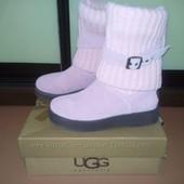 UGG 37 р. Демисезонные ботинки с вязаным манжетом. Замшевые новые