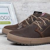 Ботинки кожаные Montana casual brown на меху на натуральном меху зимние мужские