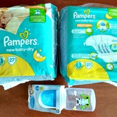 Pampers New Baby-Dry Размер (2 упаковки по 27шт + бутылочка)