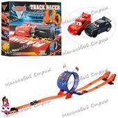 Игровой авто-трек Тачки 8001 со пиральными горками, 2 инерц машинки, маквин, аналог Hot wheels