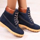 Зимние женские ботинки, темно-синие, из натурального нубука, на меху, на шнурках