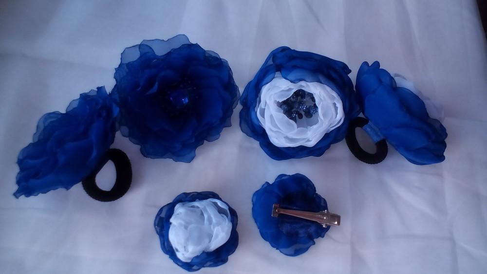 Школьный бант, резинка, заколка ручная работа, цветы из шифона фото №1