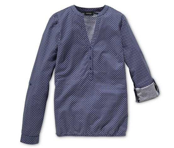 Блузка свободного кроя из хлопка с минималистичным принтом Tchibo, Германия фото №1