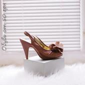 DP туфли с биркой 36 открытый носок босоножки средний каблук коричневые бежевые