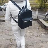 Вместительный женский рюкзак синий эко-кожа качественный