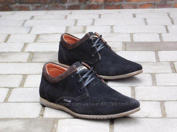 Туфли Clarks, р. 40-45, черн, син, натур. замша, код gavk-10050 фото №1