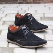 Туфли Clarks, р. 40-45, черн, син, натур. замша, код gavk-10050
