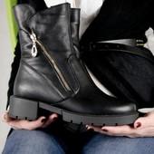 Ботинки зимние кожаные на меху, 36-41, код kivk-557