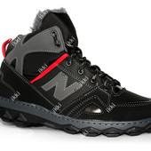 Стильные зимние ботинки для мужчин черные (КБ-22ч)