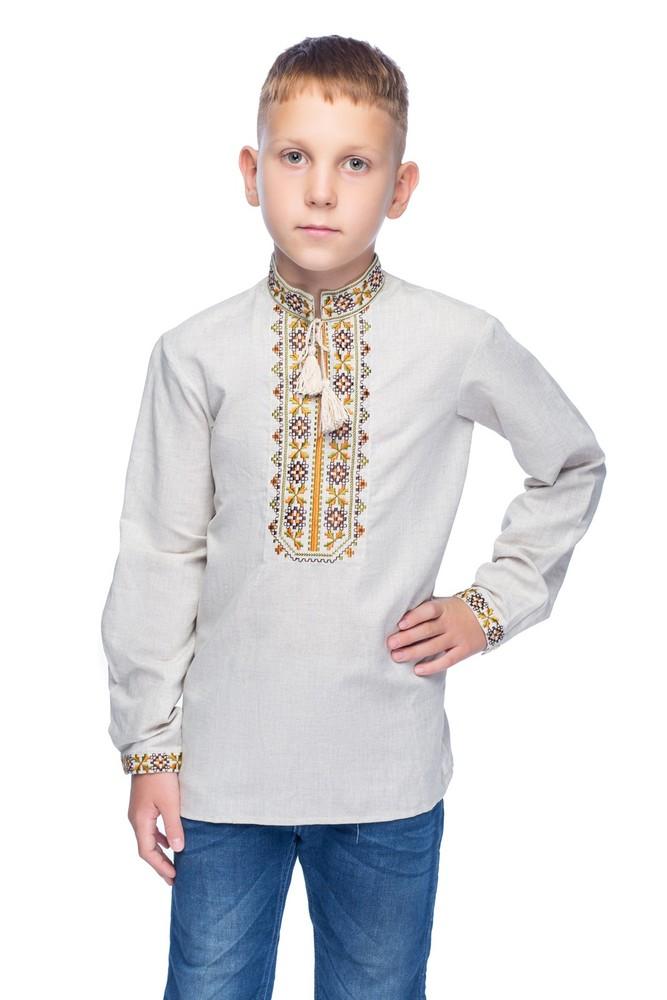 Сорочка для хлопчика дубове листя (льон сірий) фото №1