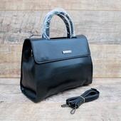 Шикарная деловая черная женская сумочка. Есть длинный ремень. Новинка