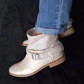 Кожа!Новые Франция san marina Оригинал серебристые ботинки,сапоги 37р/23-23,5см