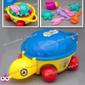 Игрушка для песочницы Черепаха каталка, лейка лопатка пасочки морские животные, песочный набор