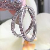 Серьги серебряные сережки Симпатия 2 см белая 2060