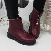 Зимние ботинки Herms. Цвет бордо. Натуральная кожа.Р.36-40