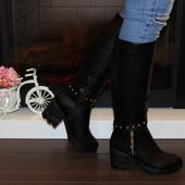 Зимние женские сапоги на каблуке. Цвет черный. Р.36-41
