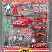 Набор машинок, пожарная, 3 машинки, вертолет, фигурки, дорожные знаки и др., пожарник