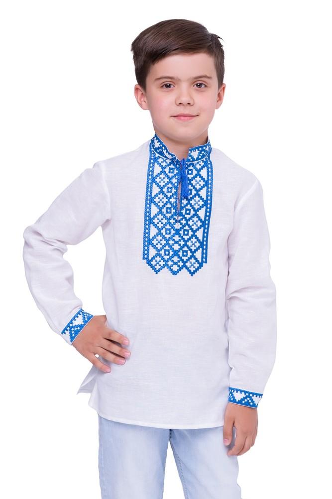 Сорочка для хлопчика млад (льон білий) фото №1