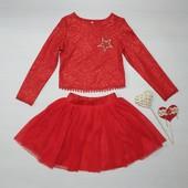 Красивый костюм платье  фатин и паетки  к праздникам 116-134 разные расцветки