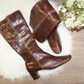 (41р./27см)Ecco! Кожа! Базовые сапоги на устойчивом каблуке коричневого цвета